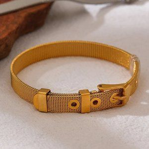 NEW 18K Gold Plated Mesh Buckle Belt Bracelet